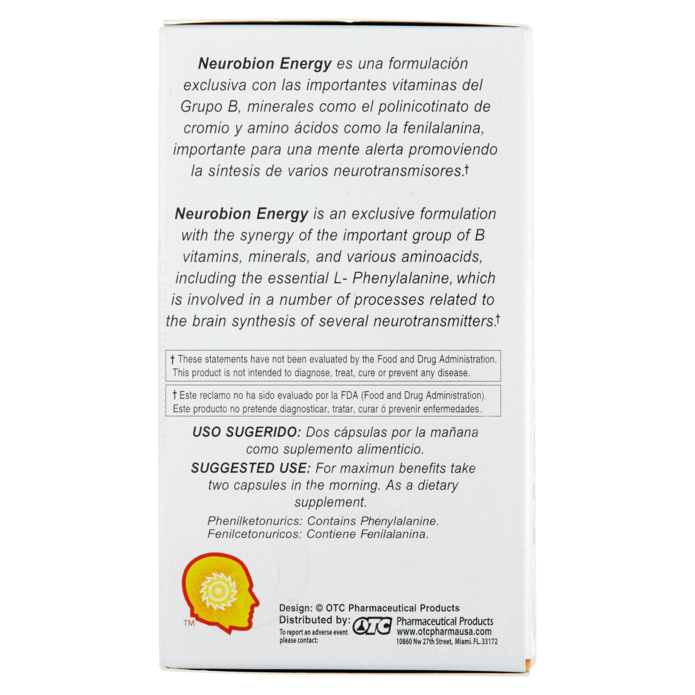 Neurobion Energy Dietary Supplement Capsules, 60 count - Amino Acids,  Vitamins B1, B6, & B12, May Help to Increase Alertness and Reduce Stress