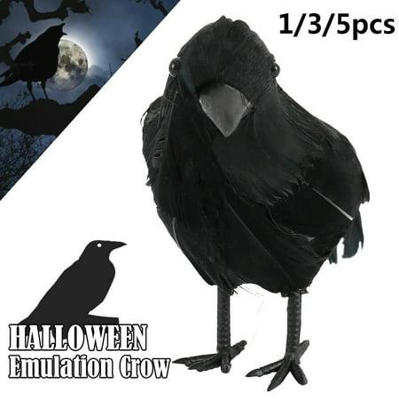Clarke Halloween 2019 (2019 Hot Sale Spooky Black Feathered Lifelike Scary Halloween Raven Crow Prop Decor for)