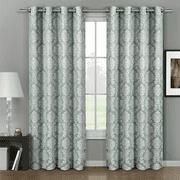 Pair (Set of 2) Aryanna Damask Floral Curtains Jacquard Grommet Panels - 108x63 - Aqua