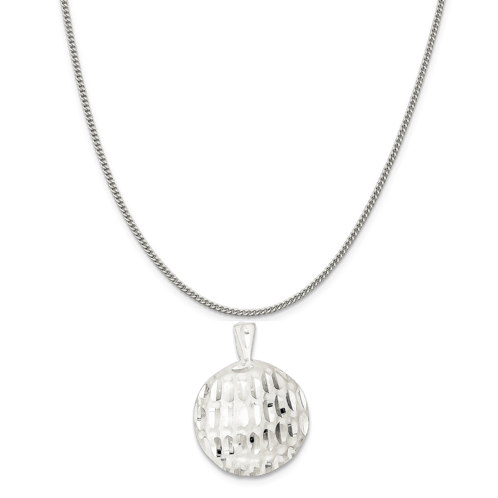 """Sterling Silver Golf Ball Charm on a Sterling Silver Curb Chain Necklace, 20"""""""