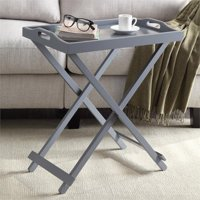 Pemberly Row Folding Tray Table in Gray