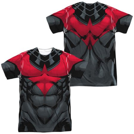 Batman Uniform (Trevco BM2582FB-ATPP-4 Batman Nightwing Red Uniform Front & Back Print-S by S Adult Poly Crew Sublimation T-Shirt, White - Extra)