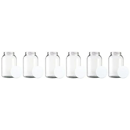 One Gallon Wide Mouth Glass Jar with Lid-Set of 6