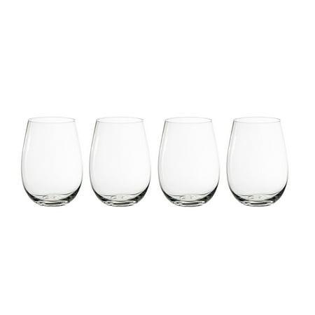 European Stemless White Wine Cups (4-Piece Set) Classic Craftsmanship, Elegant Hosting Glassware |Modern, Heavy-Duty Borosilicate Glass Crystal | Dishwasher Safe American Classic Wine Set