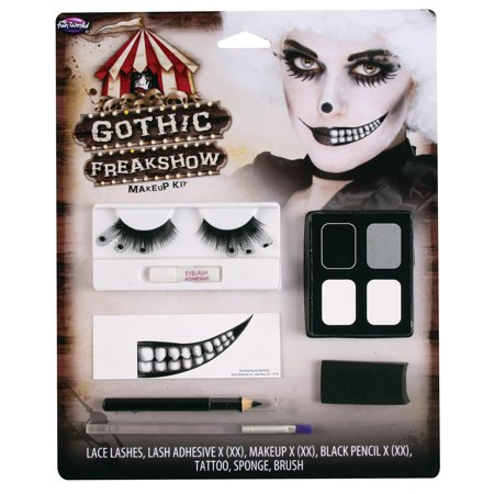 Black Halloween Makeup (Fun World Halloween Gothic Freakshow 7pc Makeup Kit, White)
