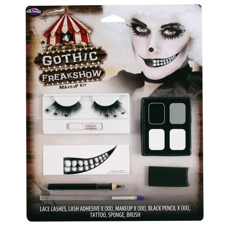Fun World Halloween Gothic Freakshow 7pc Makeup Kit, White Black (Halloween Cat Woman Make Up)