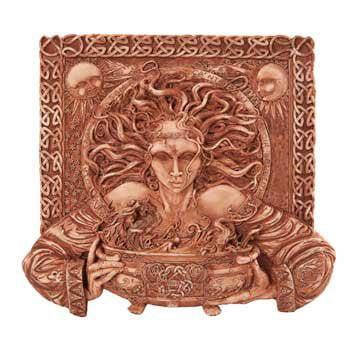CERRIDWEN CELTIC GODDESS KNOWLEDGE PLAQUE HOME DECOR BRONZE LIKE (Celtic Home Decor)