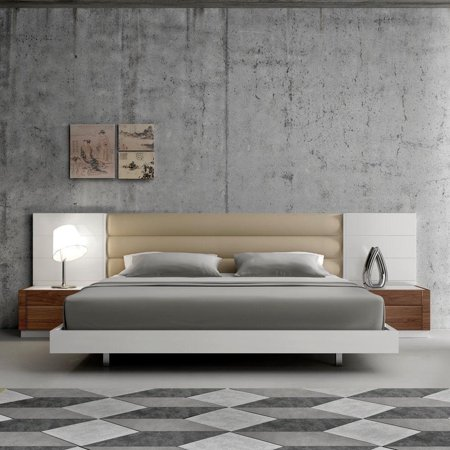 J&M Lisbon Modern White Lacquer & Walnut Wood Veneer Queen Size Bedroom Set  3Pcs
