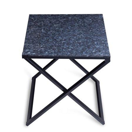Sleeplanner Blue/ Black Granite Top Dura Metal Frame End Table ...