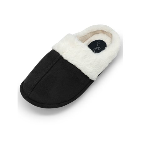 Junies Womens Rachel Plush Faux Fur Lined Memory Foam Clog (Fur Trimmed Clog)