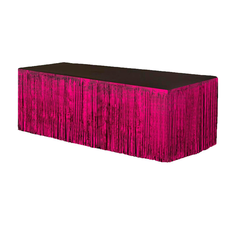 Fringe Table Skirt Hot Pink 9 ft x 29 inches Pkg/3