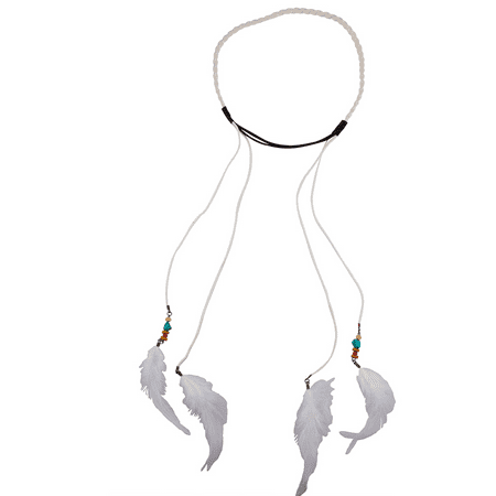Lux Accessories Boho White Suede Braided Feather (Bolo Braid)