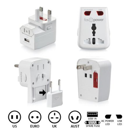 Fospower All In One  Us Uk Euro Aust    1A Usb Port Universal International Adapter Power Charger   White