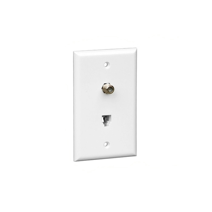 Vericom XFPOP-00480 F-81 and RJ-11 / RJ-14 Single Gang Wall Plate - Ivory