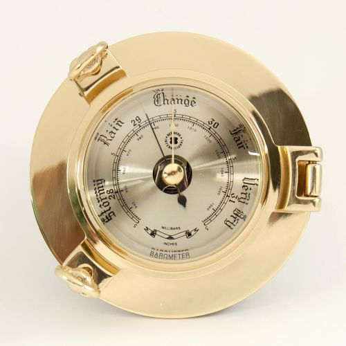 Bey Berk Lacquered Brass Porthole Barometer With Beveled ...