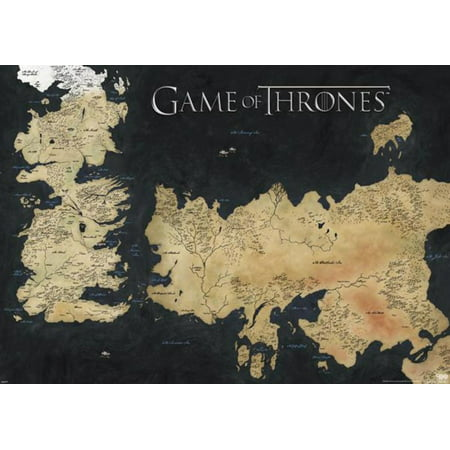 Game of Thrones GOT Map Westeros Essos 7 Kingdoms HBO TV Giant Poster - 55x39 ()