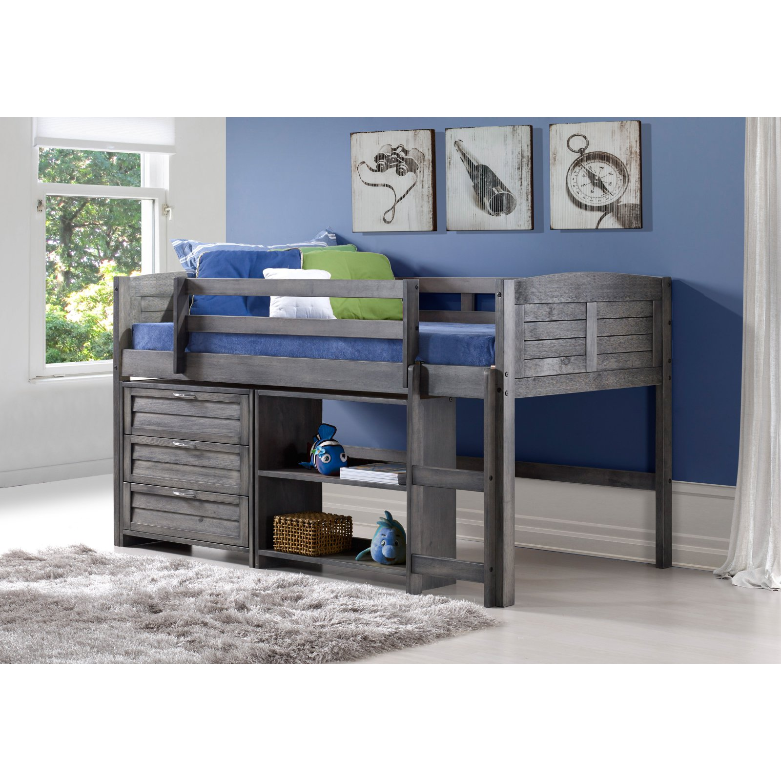 Donco Twin Louver Low Loft with Storage