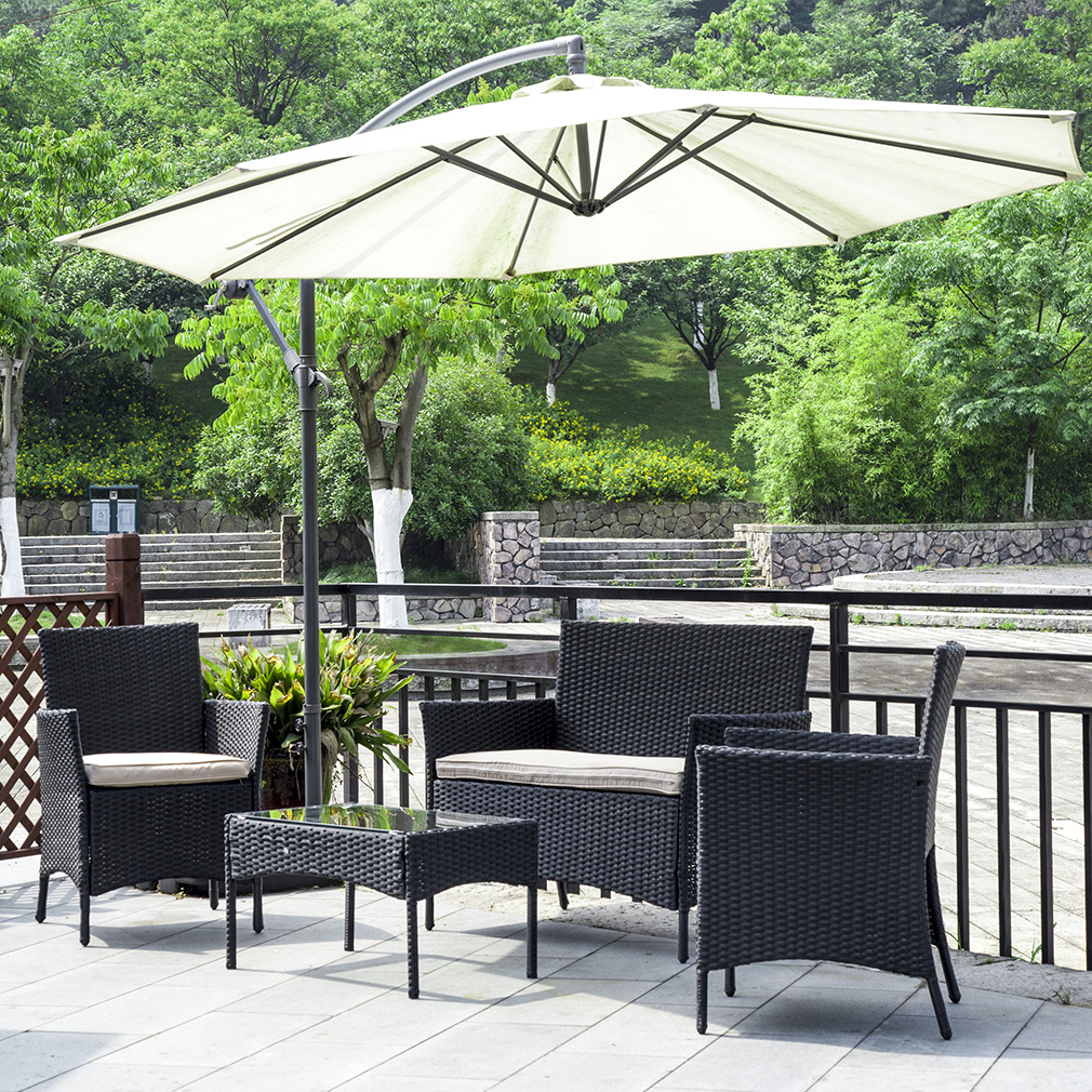 Patio Wicker Furniture Outdoor 4pc Rattan Sofa Garden Conversation Set by