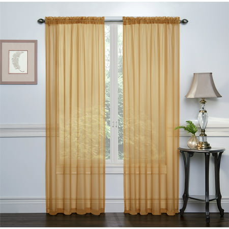 2 Pack: Ultra Luxurious High Thread Rod Pocket Sheer Voile Window Curtains by GoodGram® - Gold
