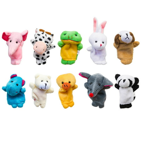 Velvet Cute Animal Style Finger Puppets for Children, Shows, Playtime, Schools (10 Animals Set) by Super Z Outlet](Animal Puppets)