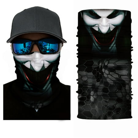 Moretek 3D Skull Neck Scarf Face Shield Mask, Outdoor Seamless Head-wear Motorcycle Wrap Scarf Halloween - Half Sugar Skull Face Halloween