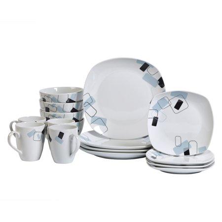Tabletops Gallery Dean Square 16 Piece Dinnerware Set, Geo Pattern ()