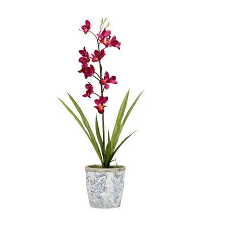 D&W Silks Purple Cymbidium Orchids in Round Ceramic Planter