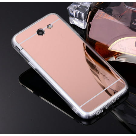 Galaxy J7v Case, Galaxy J7 Perx Case, Galaxy J7 Prime, Galaxy J7 Halo Case Luxury Mirror Back TPU Bumper Anti-Scratch Bright Reflection Protective Case Cover for Galaxy Sky Pro - Rose Gold