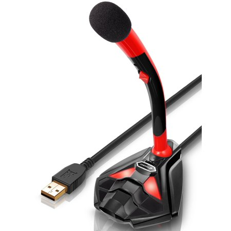 USB Microphone, Fosmon Plug & Play Home Studio Mic, Adjustable Desktop Stand w/ Volume & Mute Control for Laptop, Computer, PC, YouTubing, Vocal Recording, Gaming, Streaming & More - Red / Black