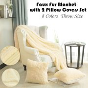 """Soft Decorative Long Shaggy Faux Fur Throw Blanket 50""""x 60"""" with 2 pcs 18"""" x 18'""""Pillow Covers Set for Couch,Dark Pink"""