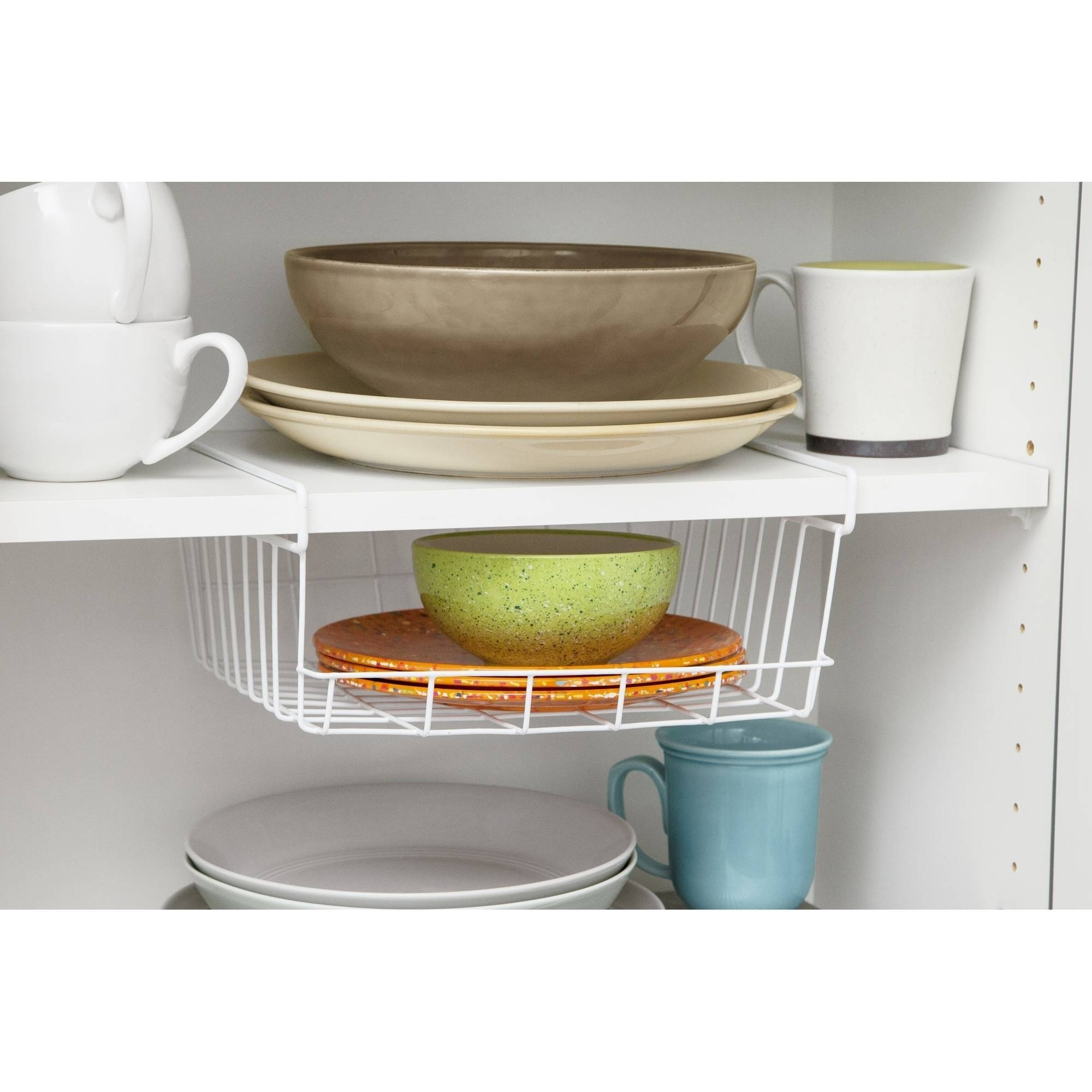 IRIS Medium Under Shelf Storage Basket, White
