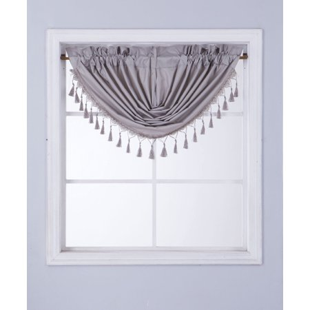 Fall Swag - RS8 1-Piece SILVER Swag Waterfall Insulated Foam Lined Blackout Rod Pocket Window Valance 48