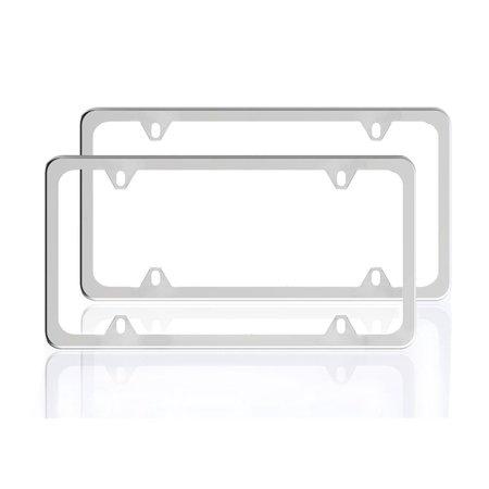 - 2 Pcs 4 Holes License Plate Frames Slim Stainless Steel Polish Mirror Chrome Screw Polishing Rustproof for Any U.S Canada Vehicles Car Protection Framework