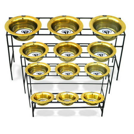 Platinum Pets Triple Diner Feeder with Stainless Steel Cat/Puppy Bowls, .75 cup/6 oz, 24 Karat Gold