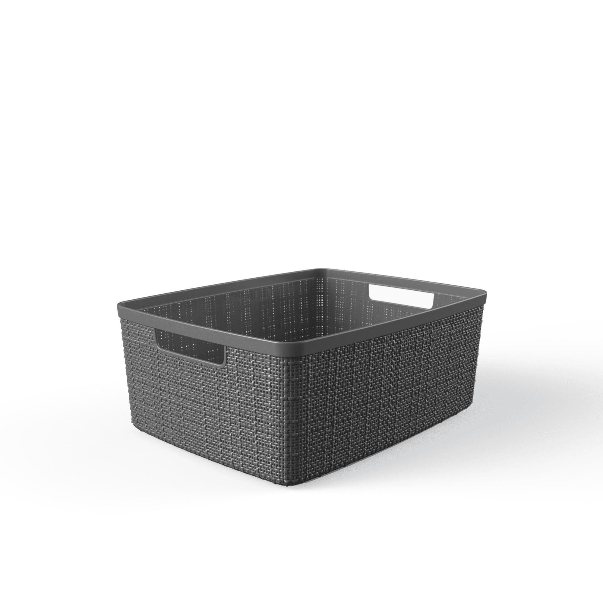 Black Inhouse Plastic Curver Storage Basket Medium for Kitchen 6 Packs