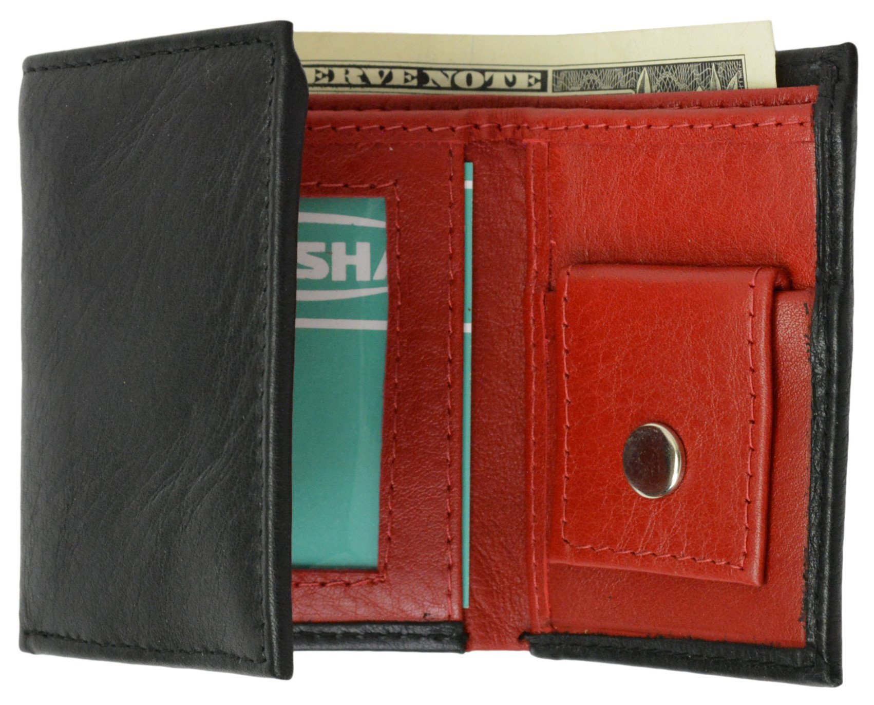KIDS BOYS SLIM  COMPACT COIN POCKET BIFOLD WALLET DARK BROWN BY LEATHERBOSS