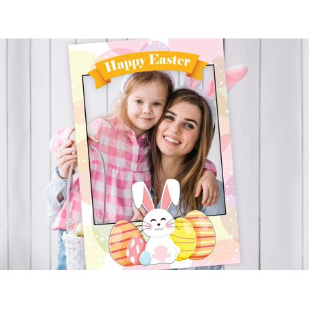 Large Custom Easter Egg Hunt Photobooth prop frame Party Idea, Easter Bunny, Easter selfie frame, Personalized Happy Easter Home Decoration - Size 36x24 Easter Rabbit DIY Party Supply - Easter Bunny Ideas