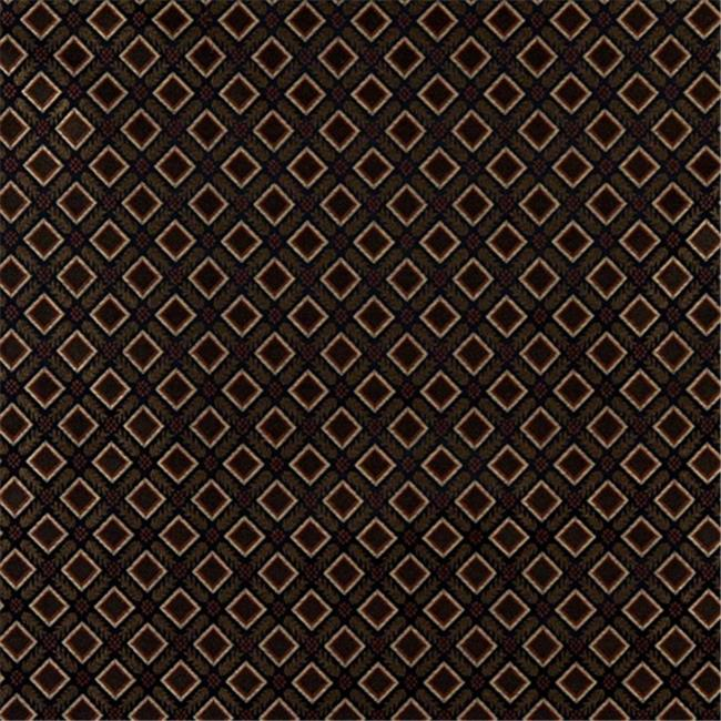 Designer Fabrics E636 54 in. Wide Diamond Black, Gold, Green And Orange Damask Upholstery And Window Treatment Fabric