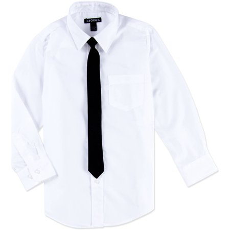 George boys packaged dress shirt with black tie for Black shirt black tie