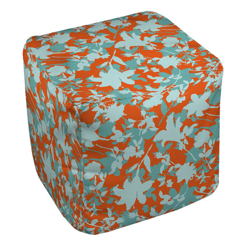 Manual Woodworkers & Weavers Chloe Floral Pouf