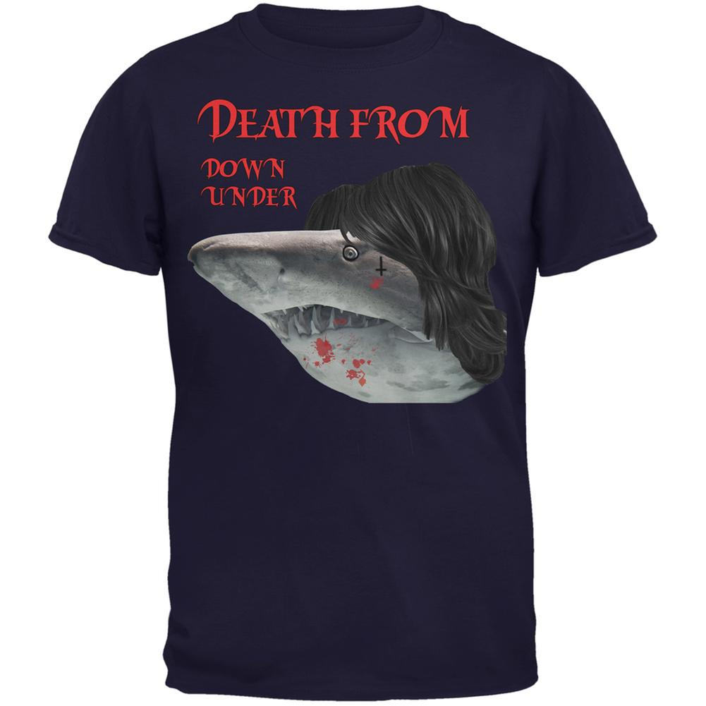 Death From Down Under Shark Navy Adult T-Shirt
