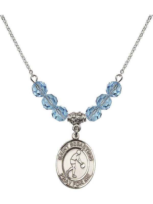 Bonyak Jewelry 18 Inch Rhodium Plated Necklace w// 6mm Blue March Birth Month Stone Beads and Saint Sebastian//Tennis Charm