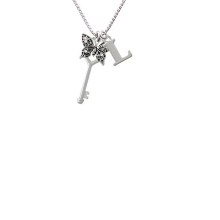 Silvertone Antiqued Butterfly Key With Ab Crystals Capital Initial L Necklace