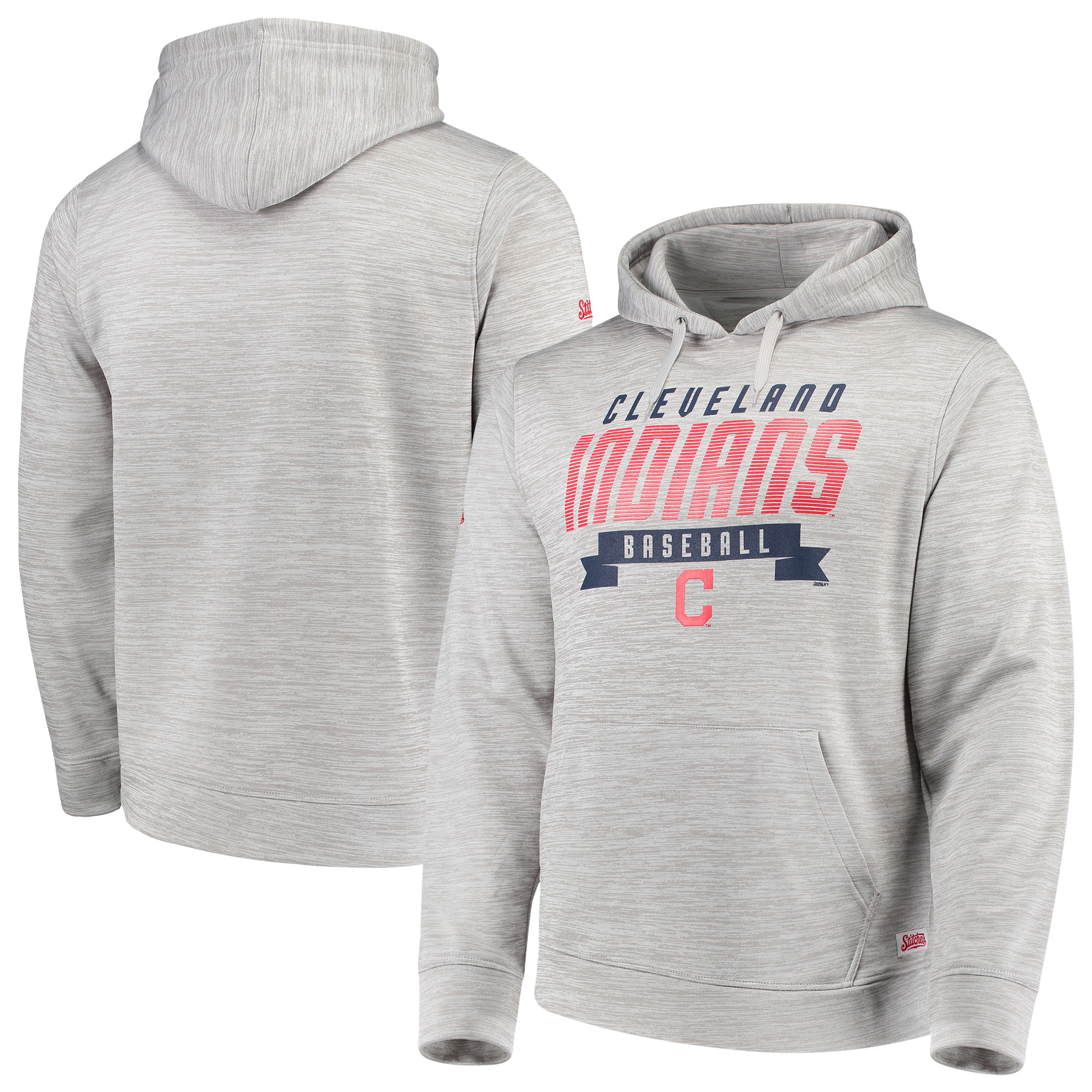 Cleveland Indians Stitches Poly Pullover Hoodie - Heathered Gray