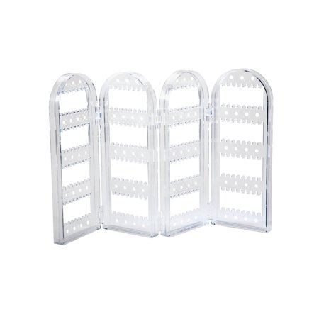 Clear Acrylic Earring Screen Tower Display Stand – Collapsible Crystal Panels Hold Up to 128 Pair of Earrings Acrylic Earring Display Stand