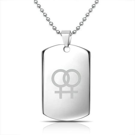 Female Symbol Gay Pride Steel Dog Tag Pendant Necklace - Gay Pride Necklaces