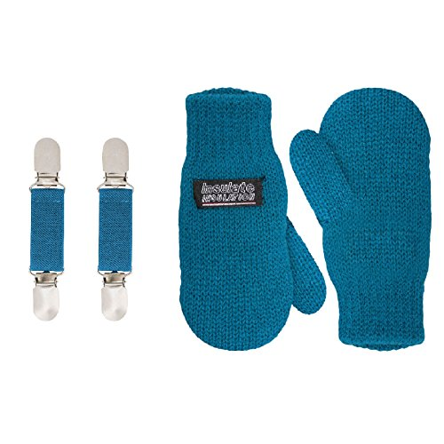 SANREMO Unisex Kids Toddler Knitted Fleece Lined Warm Winter Mittens and Mitten Clips Set (1-3 Years, Coral Blue)