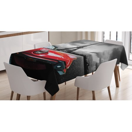Red and Black Tablecloth, European Honeymoon Romantic City Paris Eiffel Tower Italian Car, Rectangular Table Cover for Dining Room Kitchen, 52 X 70 Inches, Charcoal Grey and White, by Ambesonne