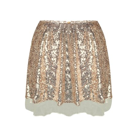 Women Sequin Mini Skirt High Waist Zip Glitter A-Line Short Skirt Gold A-line Back Zip Skirt