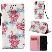 iPhone Xr Case, iPhone Xr Cover, Allytech Fancy 3D Print Crystal Diamonds Wallet Case with Card Slots Slim PU Leather Folio Flip Kickstand Case Cover for iPhone Xr 6.1-inch Phone, Flamingo
